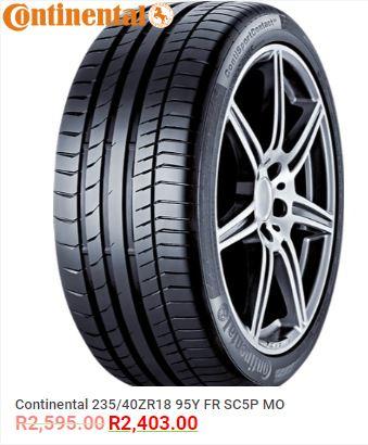 Continental 235/40ZR18 95Y FR SC5P MO